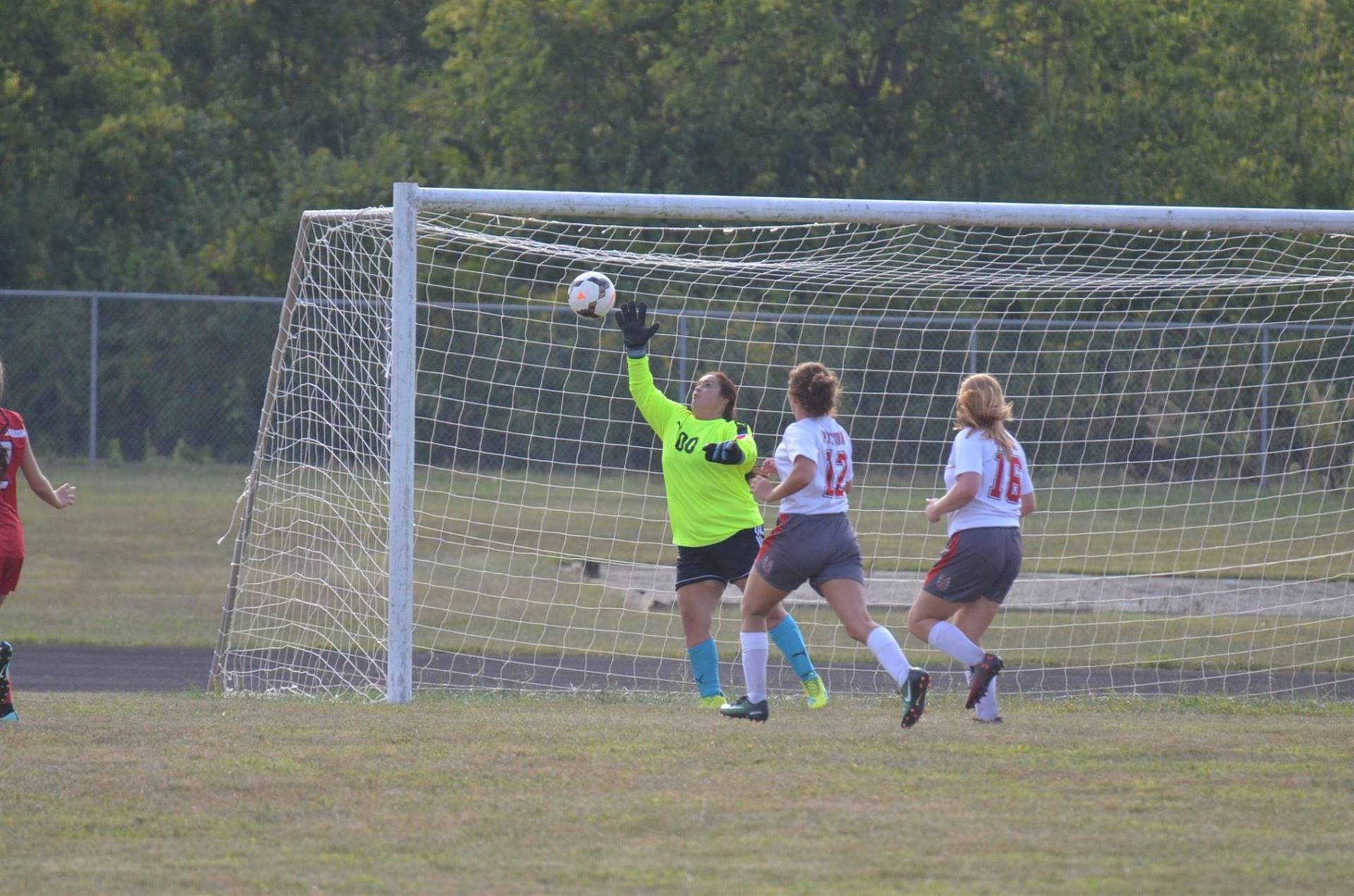 Cameryn Alexzander blocking the ball from going into the goal.